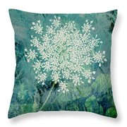 Queen Anne's Lace Throw Pillow by Ann Powell