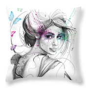 Queen Of Butterflies Throw Pillow by Olga Shvartsur
