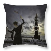 Queen Of The Seagulls Throw Pillow by Joana Kruse