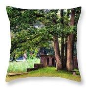 Quiet Park Corner. De Haar Castle Throw Pillow by Jenny Rainbow