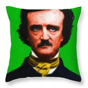 Quoth The Raven Nevermore - Edgar Allan Poe - Painterly - Green - With Text Throw Pillow by Wingsdomain Art and Photography