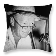 Radio Broadcaster Red Barber 1955 Throw Pillow by Mountain Dreams