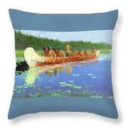 Radisson And Groseilliers Throw Pillow by Fredrick Remington