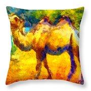 Rainbow Camel Throw Pillow by Pixel Chimp