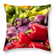 Rainbow Of Peppers Throw Pillow by Teri Virbickis