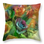 Rainbow Roses Throw Pillow by Carol Cavalaris