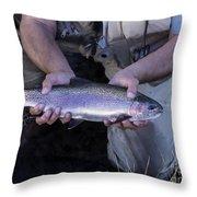 Rainbow Trout Throw Pillow by Carolyn Fox