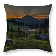Rainier Sunset Basin Throw Pillow by Mike Reid