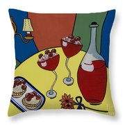 Raspberry Wine Throw Pillow by Barbara McMahon