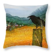 Raven And The Village 2 Throw Pillow by Carolyn Doe