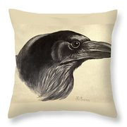 Raven Throw Pillow by Philip Ralley