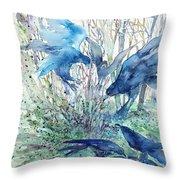 Ravens Wood Throw Pillow by Trudi Doyle