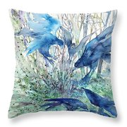 Ravens Wood Throw Pillow by Trudi Doyle