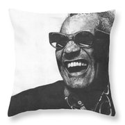 Ray Charles Throw Pillow by Jeff Ridlen