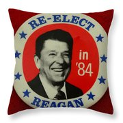 Re-Elect Reagan Throw Pillow by Paul Ward