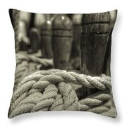 Ready For Work Black And White Sepia Throw Pillow by Scott Campbell