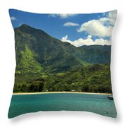 Ready To Sail In Hanalei Bay Throw Pillow by James Eddy