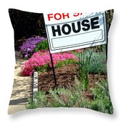Real Estate For Sale Sign And Garden Throw Pillow by Olivier Le Queinec