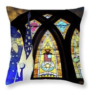 Recollection Union Soldier Stained Glass Window Digital Art Throw Pillow by Thomas Woolworth