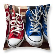 Red And Blue Tennis Shoes Throw Pillow by Garry Gay