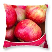 Red Apples In Baskets At Farmers Market Throw Pillow by Teri Virbickis