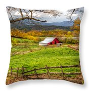 Red Barn Throw Pillow by Debra and Dave Vanderlaan
