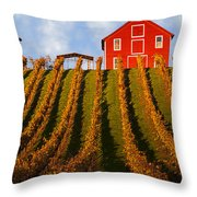 Red Barn In Autumn Vineyards Throw Pillow by Garry Gay