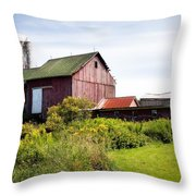 Red barn in Groton Throw Pillow by Gary Heller