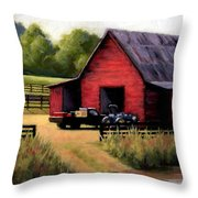 Red Barn In Leiper's Fork Tennessee Throw Pillow by Janet King