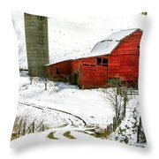 Red Barn In Snow Throw Pillow by John Haldane