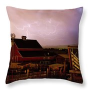 Red Barn On The Farm And Lightning Thunderstorm Throw Pillow by James BO  Insogna