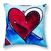Red Blue Heart Love Painting Pop Art Joy by Megan Duncanson Throw Pillow by Megan Duncanson
