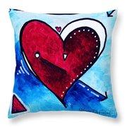 Red Blue Heart Love Painting Pop Art Joy By Megan Duncanson Throw Pillow by Megan Duncanson