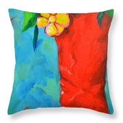 Red Boot With Flowers Throw Pillow by Patricia Awapara