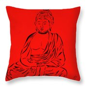 Red Buddha Throw Pillow by Pamela Allegretto