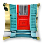 Red Door In New Orleans Throw Pillow by Christine Till