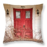 Red Doors - Charming Old Doors On The Abandoned House Throw Pillow by Gary Heller