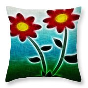 Red Flowers - Digitally Created and altered with a filter Throw Pillow by Gina Lee Manley
