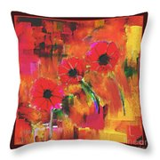 Red Flowers Throw Pillow by Nedunseralathan R