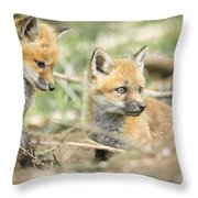 Red Fox Kits Throw Pillow by Everet Regal