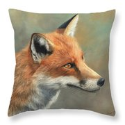Red Fox Portrait Throw Pillow by David Stribbling