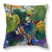 Red Grape Vines Throw Pillow by Peggy Wilson
