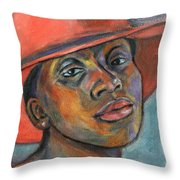 Red Hat Lady Throw Pillow by Xueling Zou