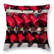 Red Kayaks Throw Pillow by Thomas Marchessault