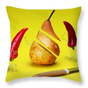 Red Peppers Sliced A Pear Throw Pillow by Paul Ge