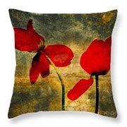 Red Petals Throw Pillow by Bernard Jaubert