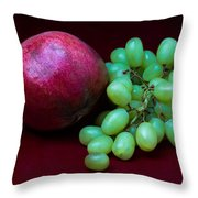 Red Pomegranate And Green Grapes Throw Pillow by Alexander Senin