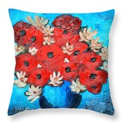 Red Poppies And White Daisies Throw Pillow by Ramona Matei