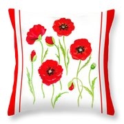 Red Poppies Throw Pillow by Irina Sztukowski