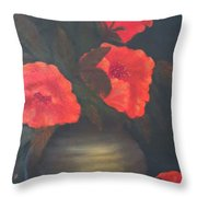 Red Poppies Throw Pillow by Kay Novy